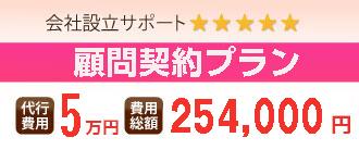 会社設立サポート 5つ星 完全0円プラン 代行費用 0円 費用総額 202,000円